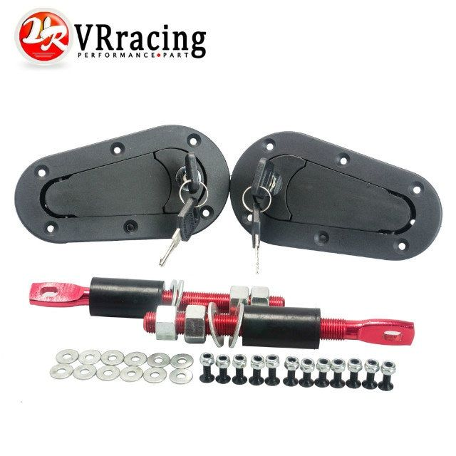 VR RACING - JDM D1 Plus Flush Hood Latch and Pin Kit Racing Latch Locks Locking Hood Kit VR-BPK-D21
