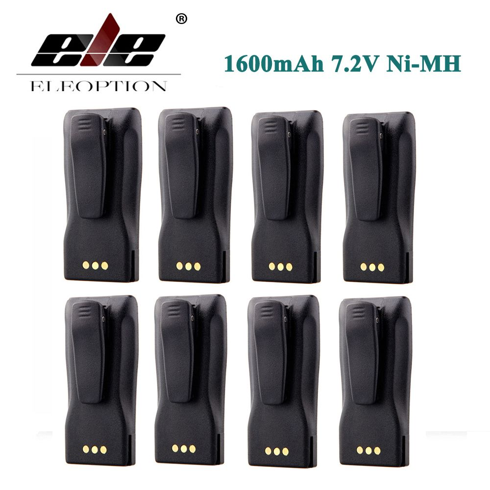 ELEOPTION 8PCS Ni-MH 1600mAh 7.2V NNTN4496 NNTN4851 Battery for MOTOROLA CP040 CP150 CP160 PR400