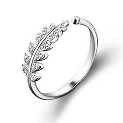 LNRRABC Woman Jewelry Fashion Simple Open Design Leaf Ring Personality Female Flower Rings Wedding Rings for Women