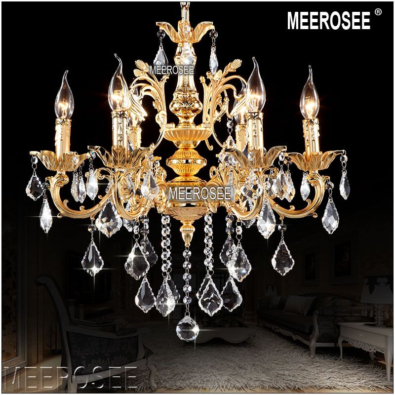 Classic Crystal Chandeliers Light Fixture Crystal Lustre Lamps for Foyer Lobby MD8861 Clear Crystal Chandelier