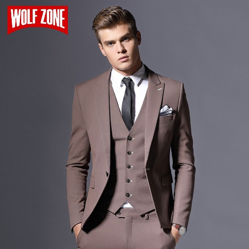 Verkauf Marke Herren Anzug Jacke Formal Business-Blazer Männer Bräutigam Drei Stücke Slim Fit Party Kleidung Einzigen Taste Hochzeit Kleid