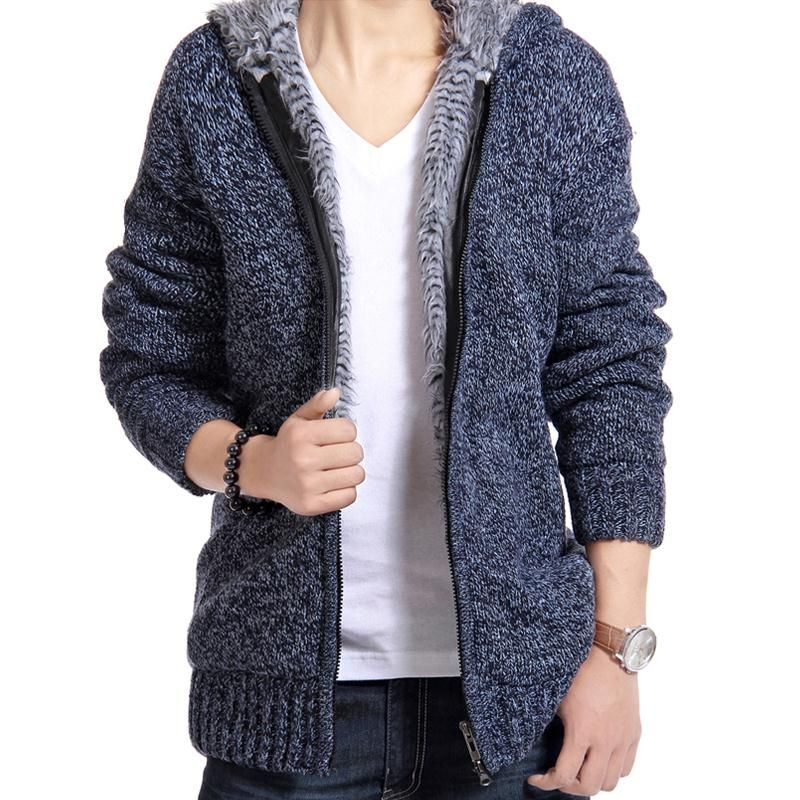 Jacket Men 2017 Thick Velvet Cotton Hooded Fur Jacket Mens Winter Padded Knitted all-match Casual Sweater Cardigan Coat Spring