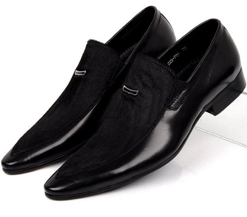 Large size EUR45 Black mens suede dress shoes genuine leather pointed toe business dress shoes mens <font><b>wedding</b></font> shoes