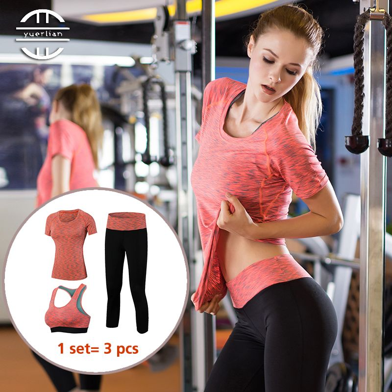Yuerlian 3 Pcs Quick Dry Yoga Set Workout Sport Suit Fitness Tight Sexy Sports Bra Top Leggings Yoga Clothes Tracksuit For Women