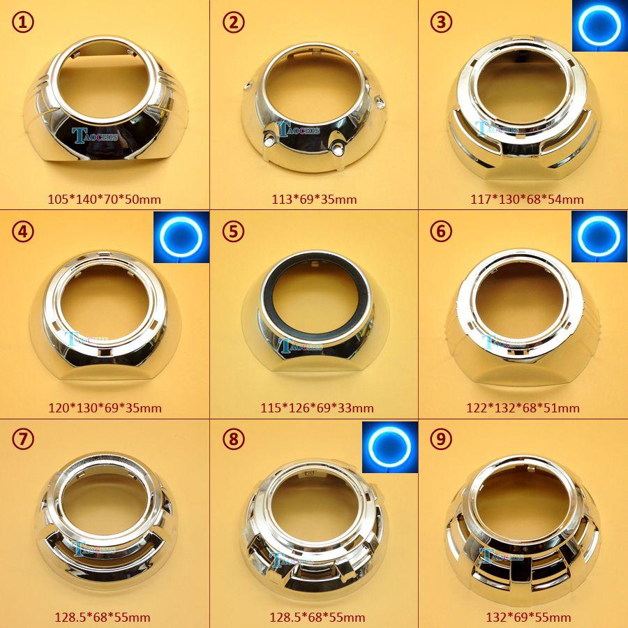 Taochis Car-Styling Lens hood shroud DIY for Hella 3 5 Q5 Projector lens shell Chrome with angel eyes holes
