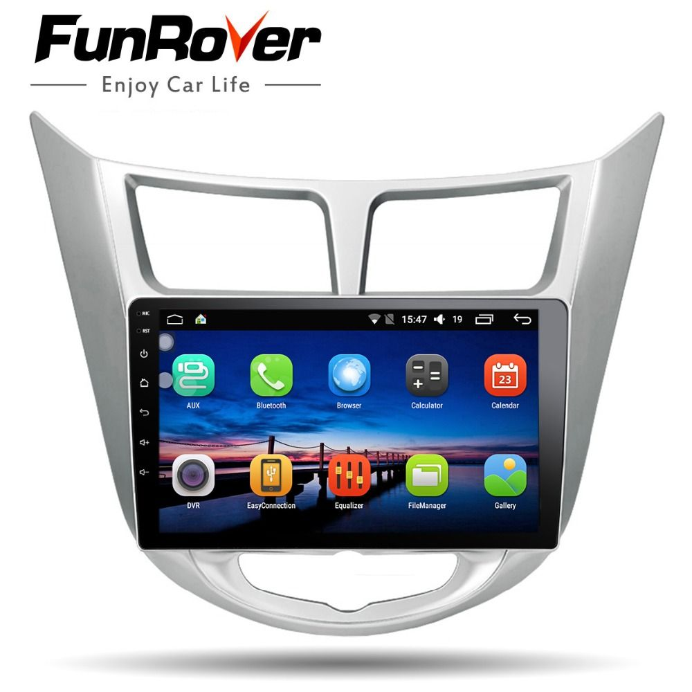 Funrover 9'' 2 din Android 8.0 Car Dvd Player For Hyundai Solaris Verna 2011-15 Radio tape recorder Video Gps WIFI RDS usb audio