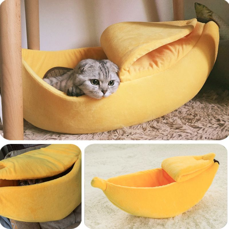 Banane chat lit maison confortable mignon banane chiot coussin chenil chaud Portable Pet panier fournitures tapis lits pour chats et chatons
