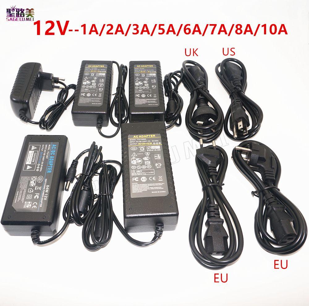 AC 110V 220V to DC 12V 1A 2A 3A 5A 6A 7A 8A 10A LED power Adapter For 2811 2812 5050 3528 LED Strip led Lighting transformers