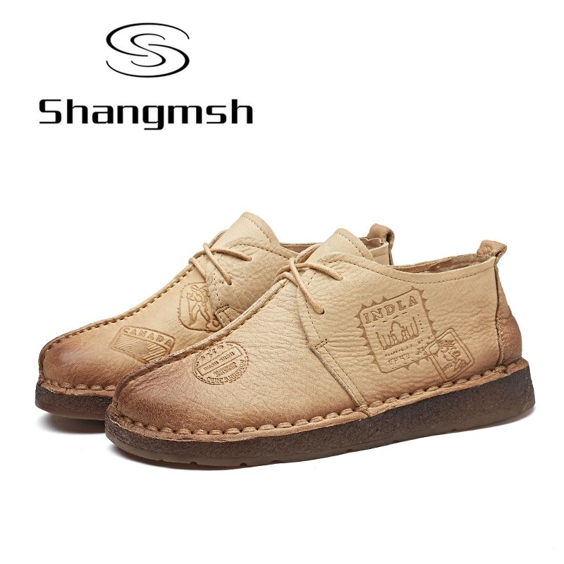 Shangmsh Handmade Women Flat Shoes Solid Round Toe Leather Casual Shoes Hand-Sewing Female Moccasins Women Shoes Plus Size