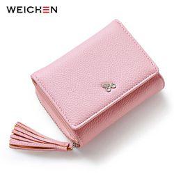 Weichen borlas zipper & HASP mujeres Cartera de tarjeta de la moneda factura del efectivo señora pequeño bolso corto sólido femenino embrague carteras