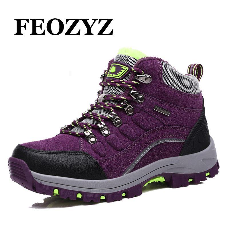 FEOZYZ Warm Winter Women Outdoor Shoes Genuine Leather Waterproof Hiking Shoes Fur High Top Hiking Boots Mountain Trekking Shoes