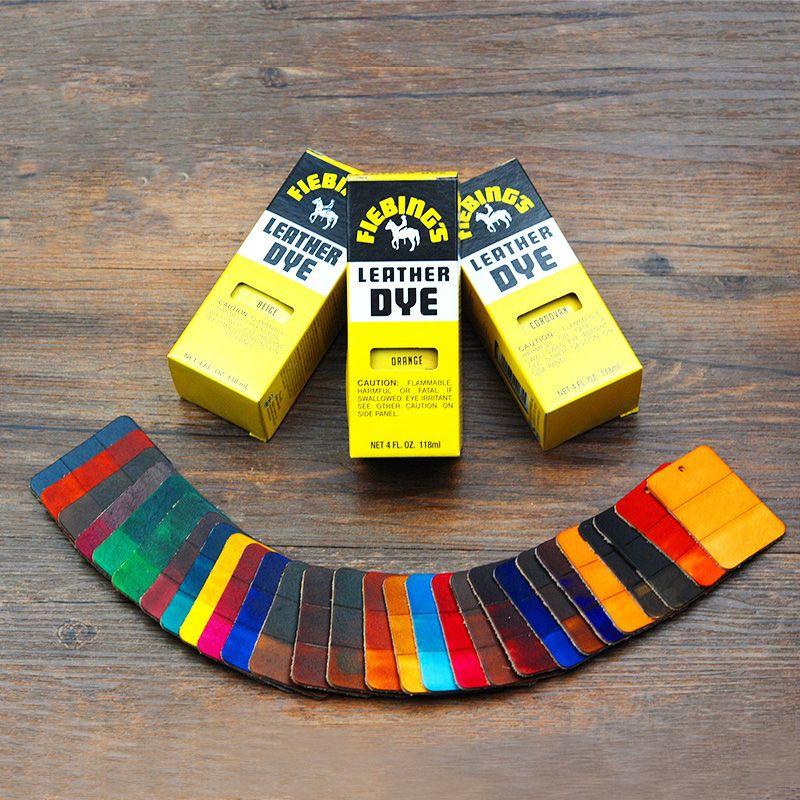 Outils de teinture de cuir tanné végétal importation d'amérique cuir artisanat 28 couleur 118ml fournitures de maroquinerie