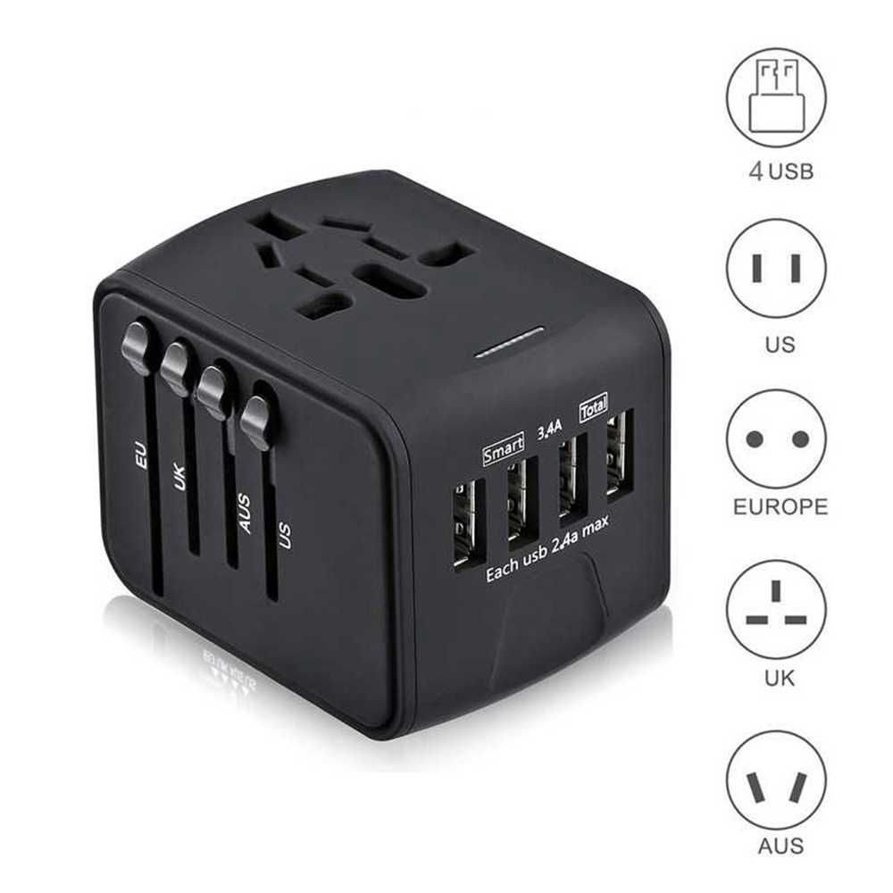 Travel Adapter International Universal Power Adapter All-in-one with 3.4A 4 USB Worldwide Wall Charger for UK/EU/AU/Asia