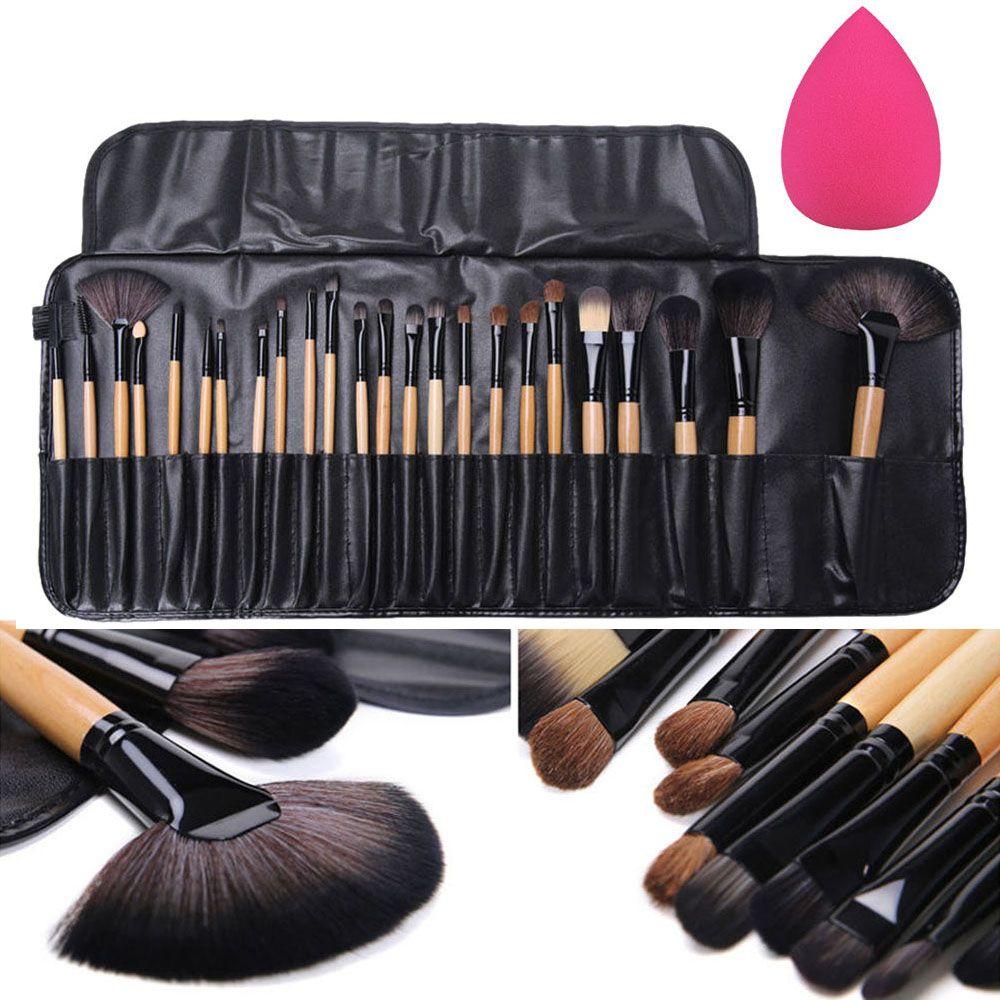 24 pcs Professionnel Maquillage Pinceaux Fard À Paupières Eyeliner Sourcils Blush Fondation Brosse avec Étui + Éponge Bouffée Cosmétique Outil Kits