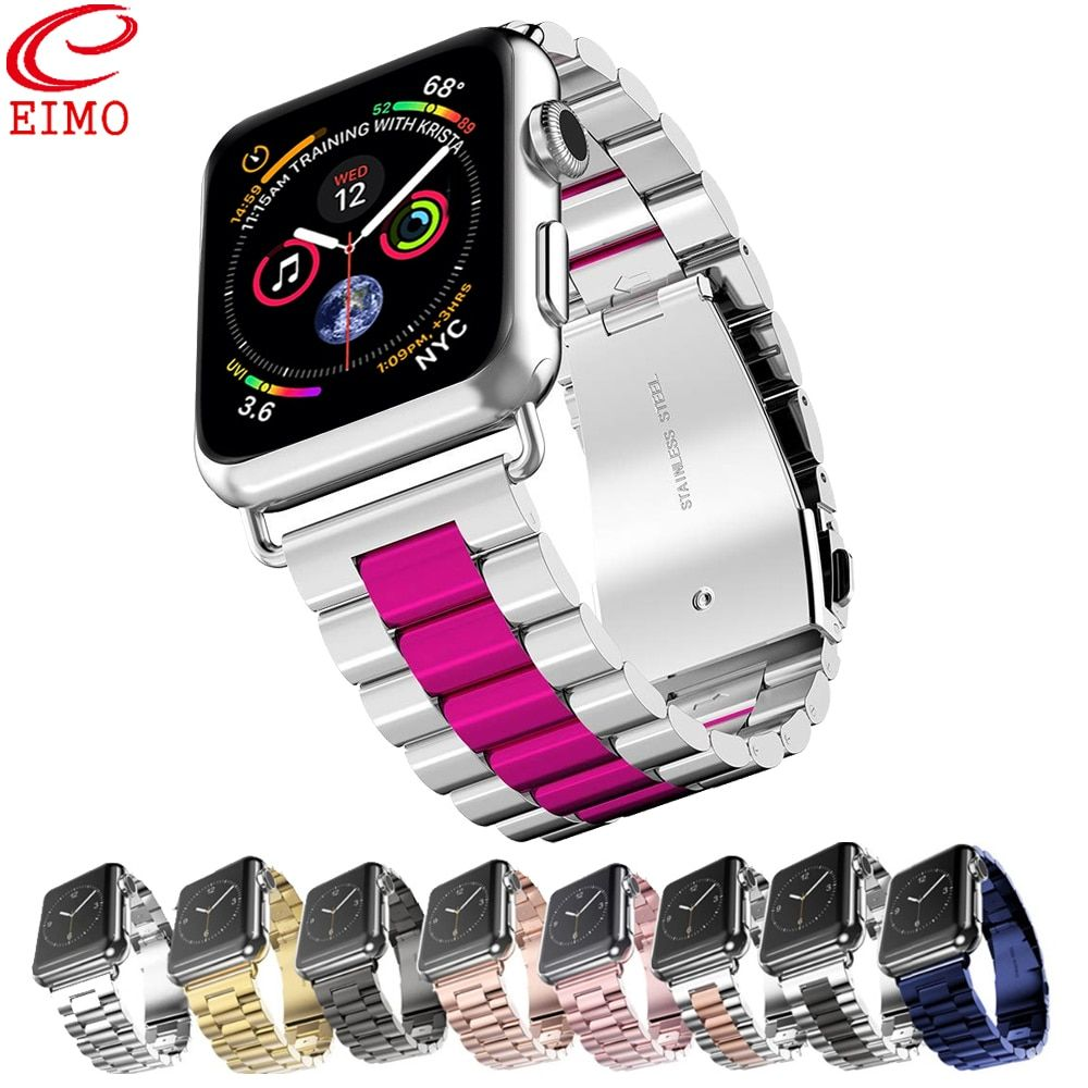 EIMO Strap For Pulseira Apple Watch band iwatch 4 3 42mm 38mm 44mm 40mm watch correa Metal link Bracelet watchband Accessories