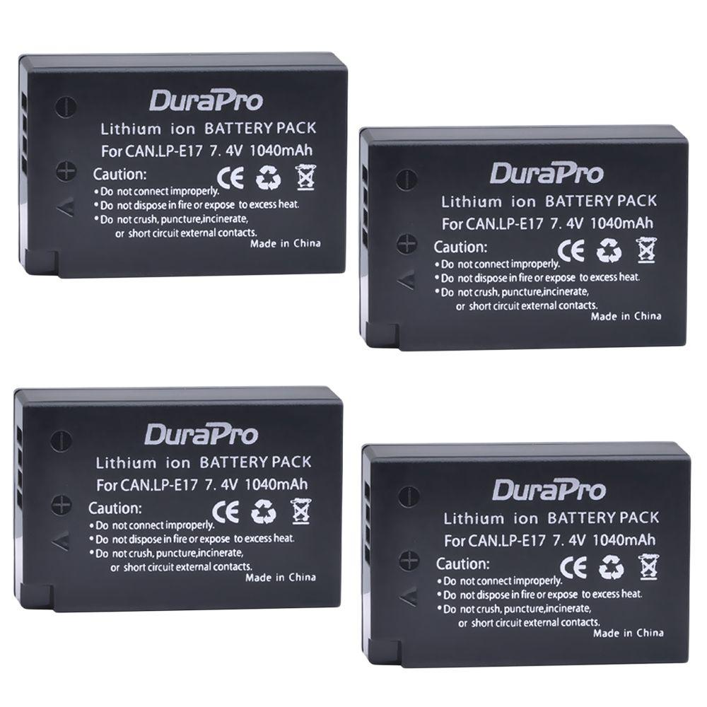 DuraPro 4Pcs Battery Pack LP-E17 Rechargeable Battery For Canon EOS M3 EOS Rebel T6i/750D EOS Rebel T6s/760D EOS 8000D KISS X8i