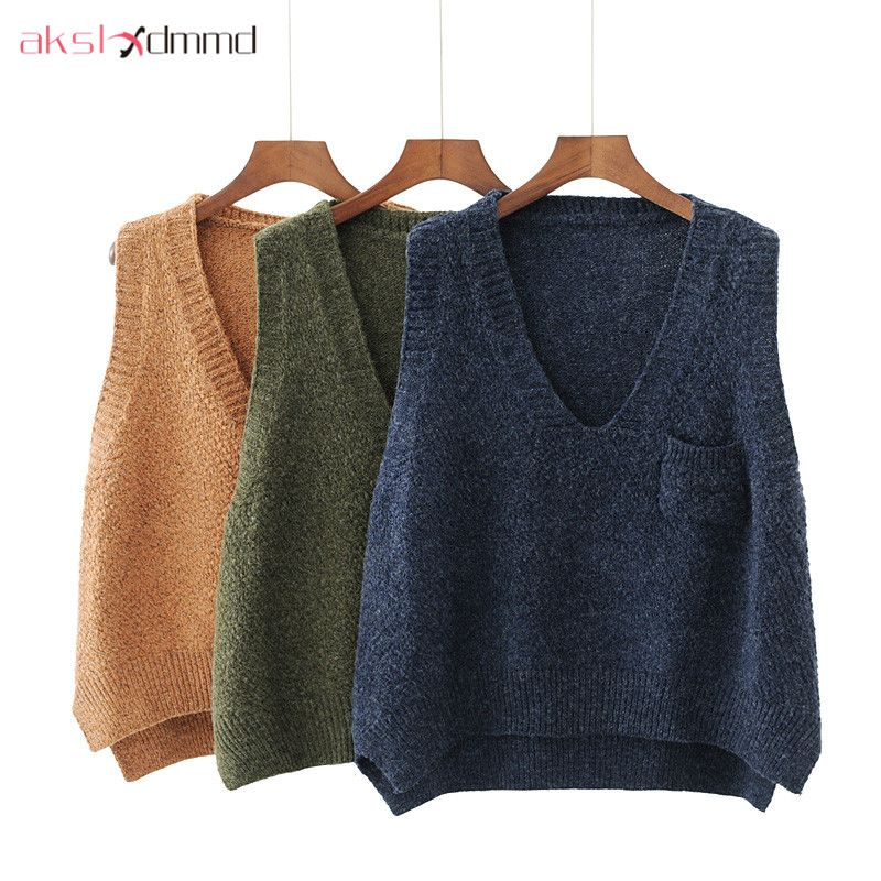 AKSLXDMMD Loose Casual Knitted Vest 2017 New Autumn Witner Plus Size Women V neck Knitted Sweater Tops Pullover Female LH1147