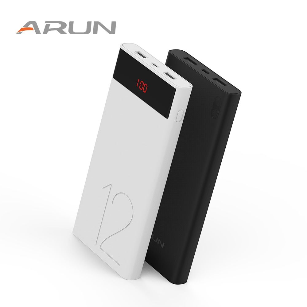 ARUN Li-polymer Battery Power Bank 12000mAh J120 LED Lights External Battery 2 USB LCD Power Bank Portable Charger