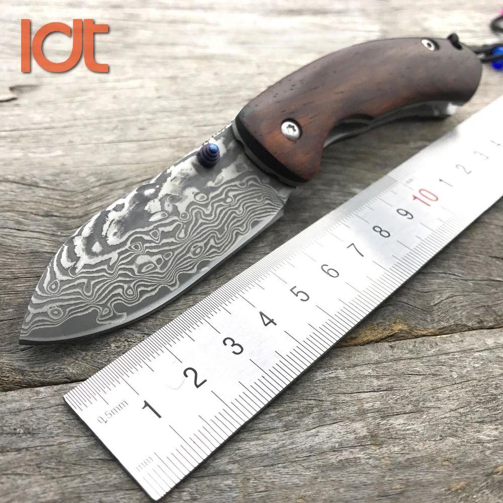 LDT Thomas Couteau Pliant Damas Lame de bois de santal Jaune Poignée Survie Camping Chasse Couteaux Couteau de Poche Extérieure EDC Outils