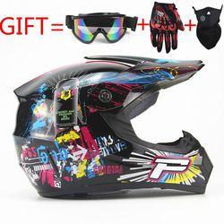 Adultos motocicleta motocross Off Road casco ATV Dirt bike Downhill MTB DH que compite con el casco Cruz con envío gafas y guantes y la máscara