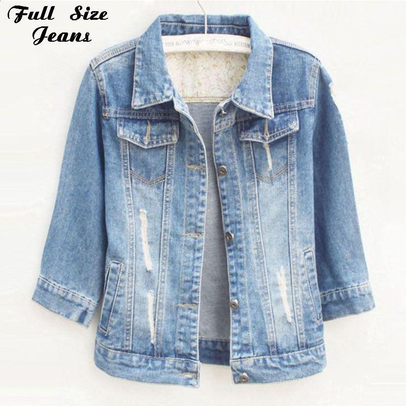 Women Plus Size Cropped Jean Jacket Light Blue Bomber Short Denim Jackets Jaqueta Casual Ripped Jeans Coat 3/4 Sleeve 4XL 5XL
