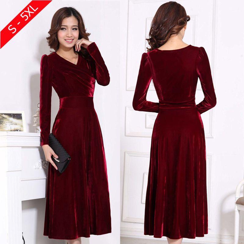 Plus Größe 4XL 5XL Frauen Winter Kleid Langarm V-ausschnitt Lange Maxi Samt Kleider Elegante Damen Formalen Party Rot Kleider schwarz