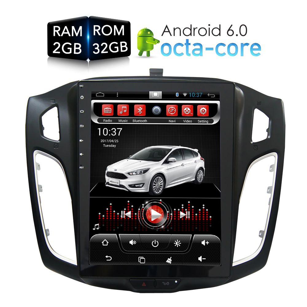 Tesla HD Bildschirm Android 6.0 Auto DVD Player GPS Navi multimedia für Ford Focus 2 Din 2012 2013 2014 2015 RDS radio Audio Stereo