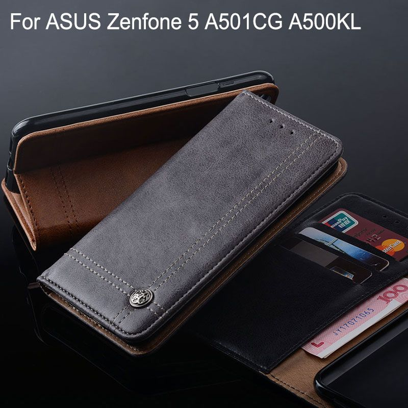 Case for ASUS Zenfone 5 A501CG A500KL Luxury Leather Flip cover Cases with Stand Card Slot funda Without magnets Vintage style