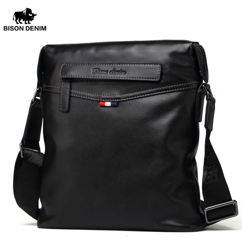BISON DENIM bag Men Classic Black Business genuine leather bag brand crossbody bag designer Shoulder Bags N2490