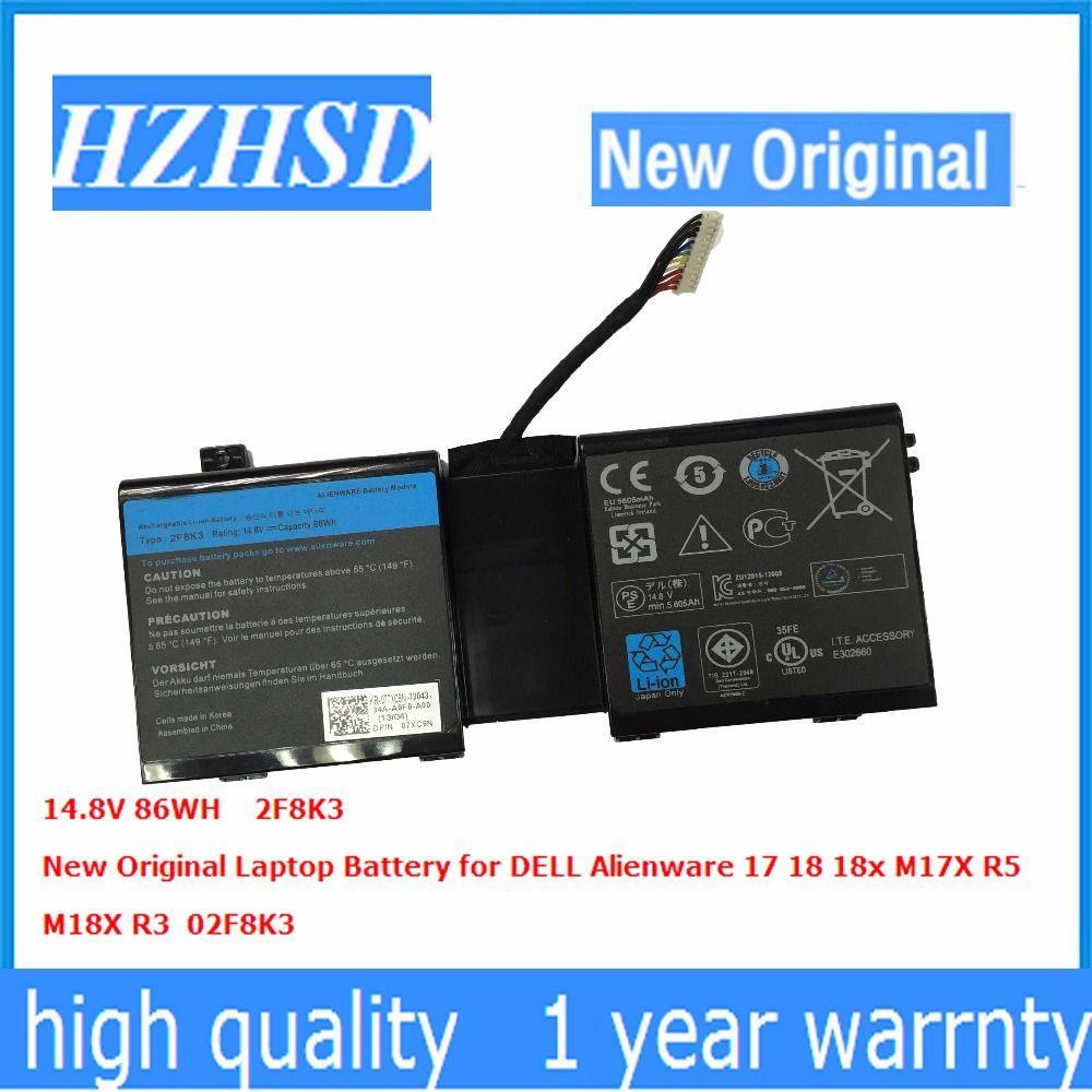 14.8 V 86WH New Original 2F8K3 Batterie D'ordinateur Portable pour DELL Alienware 17 18 18x M17X R5 M18X R3 02F8K3
