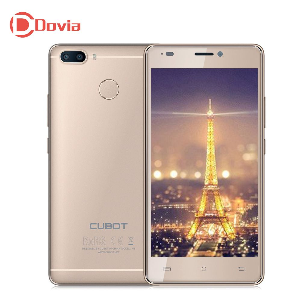 CUBOT H3 4G Mobile Phone 5.0 Inch Android 7.0 MTK6737 Quad Core 3GB 32GB 6000mAh Battery Rear Cameras Touch Sensor Cellphone