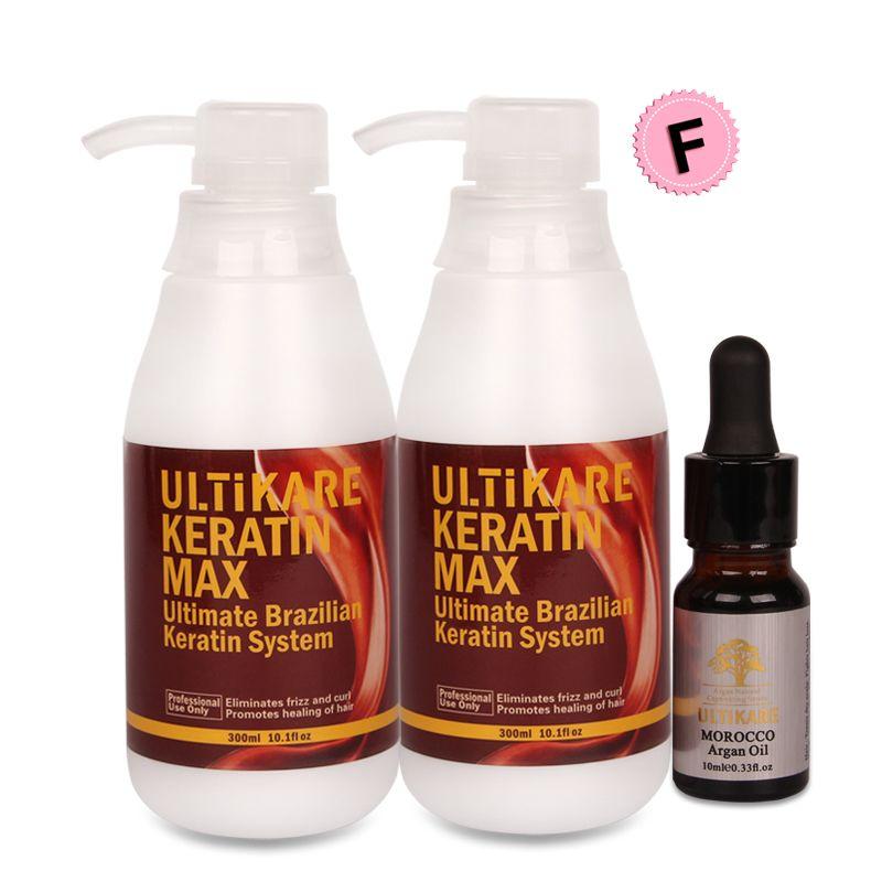 Brasilianische Keratin Behandlung Ohne Formalin 2 stücke 300 ml Begradigen Smoothy Haar Mit Kleine Kostenloser 10 ml Arganöl Für haar Reparatur