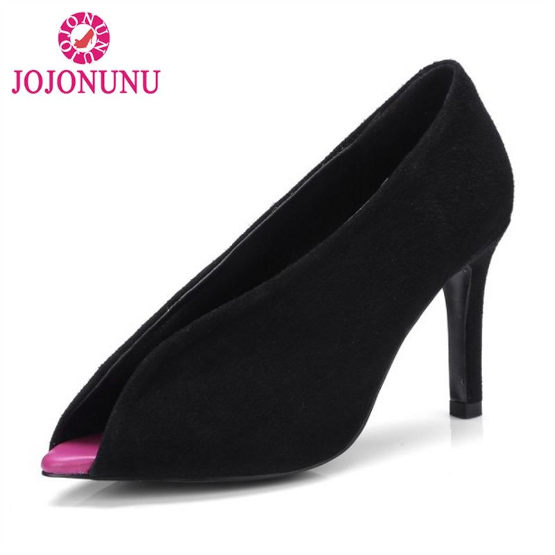 JOJONUNU Simple Office Lady Real Genuine Leather High Heel Shoes Women Solid Color Thin Heel Pumps Party Club Shoe Size 33-40