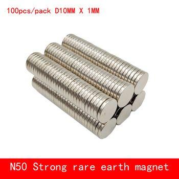 En gros 100 pcs 10mm x 1mm N50 Matériaux Magnétiques Néodyme Aimant Mini Petit Rond Disque N50 Aimant Maison décorations Réfrigérateur