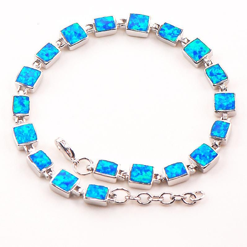 Blue Fire Opal 925 Sterling Silver Bracelet  P88 8  Free Ship High quantity Factory price Beautiful Jewelry For Men and Women
