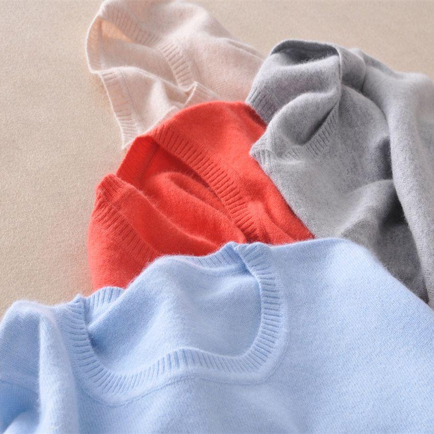 Tailleur mouton 2019 cachemire laine pull femmes couleur unie pull o-cou pull femme à manches longues tricoté pulls