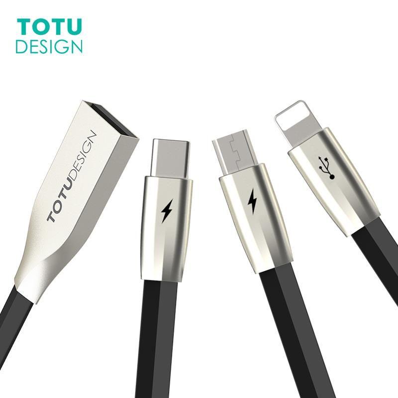 TOTU 3 dans 1 USB Câble Pour iPhone 7 6 6 s Plus 5S SE Charge Rapide Type-C micro USB Câble Pour Android Mobile Téléphone Câble Type C