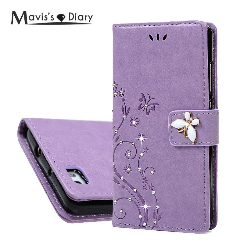 MAVISSDIARY Leather Case for Huawei P8 Lite Luxury Bling Crystal Diamond Wallet Case Flip Cover for Huawei P8 Lite P8Lite