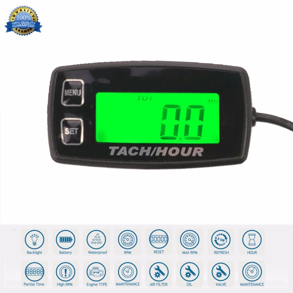 RL-HM035R Backlight high quality Hour Meter Tachometer RPM METER For ATV Tractor Generator lawn Mower Pit bike outboard MARINE