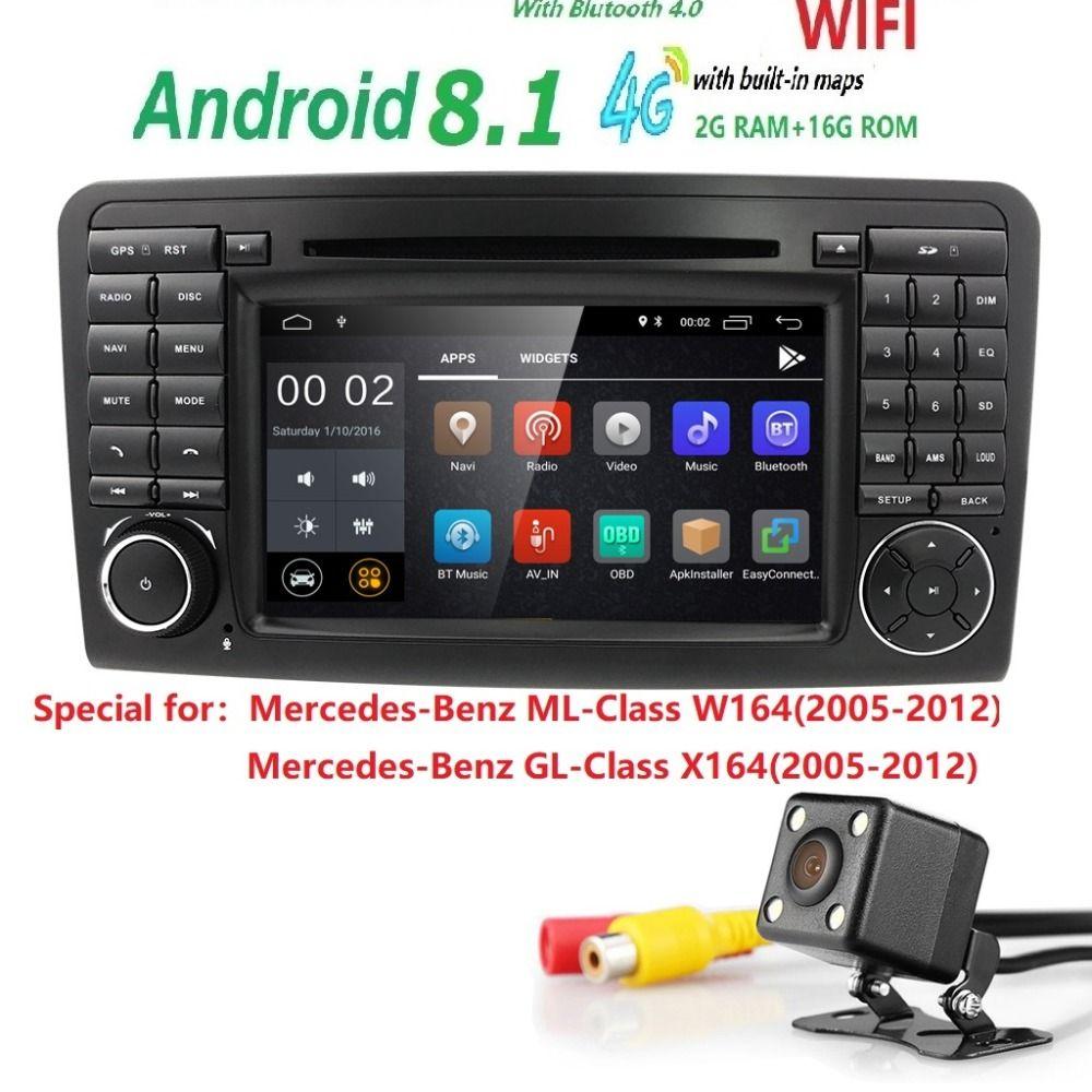 7 zoll 2 Din IPS Android 8.1 Auto Navigation DVD radio für Mercedes Benz ML GL W164 ML300 ML350 USB DVR TPMS OBD2 Reverse Kamera