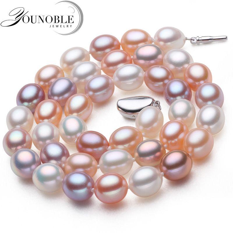 Véritable perle d'eau douce collier pendentif bijoux, réel de mariage perle colliers pour femmes mère d'anniversaire anniversaire meilleur cadeau