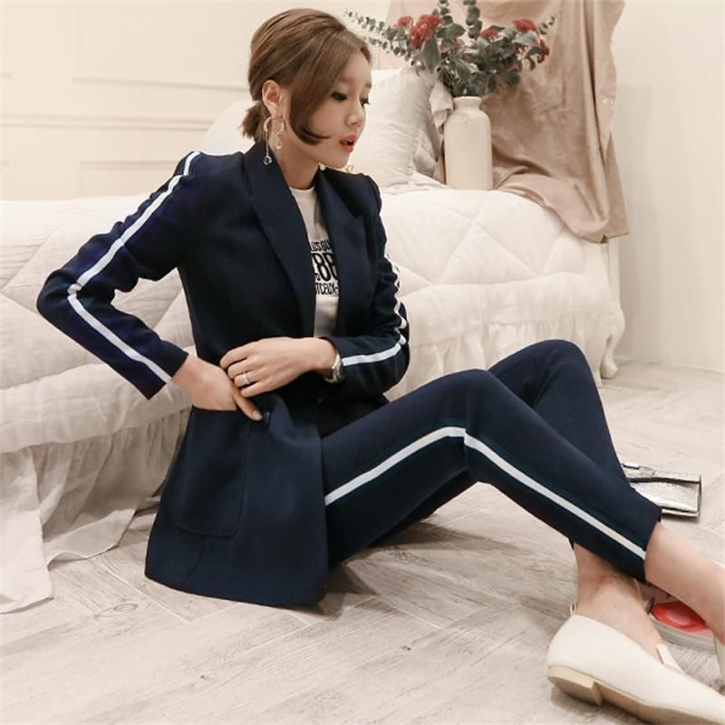 OL fashion professional suit female dark blue new self-cultivation double-breasted suit trousers temperament two-piece
