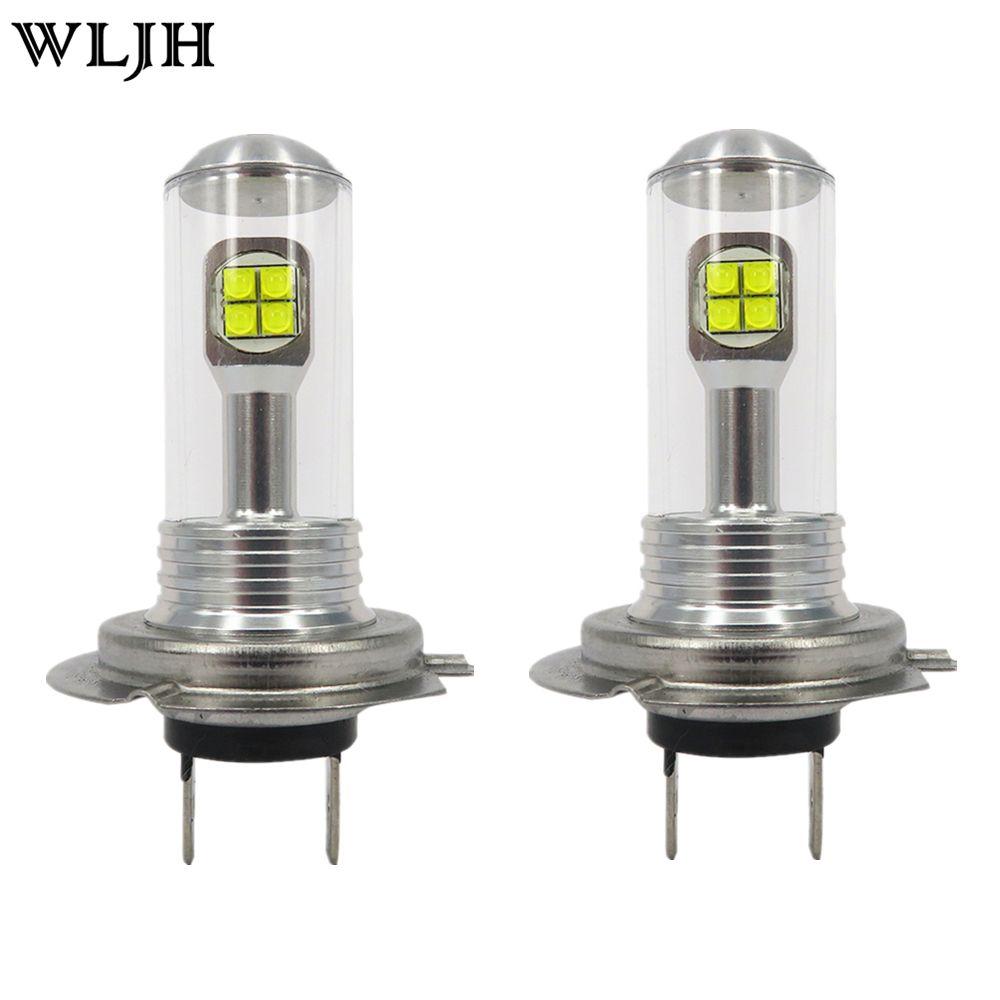 WLJH 2 pcs H7 LED White 40W Car LED Fog Lights Bulb High Bright Daytime Auto Light DRL Automobile Lamp 12V 24V 1000Lm