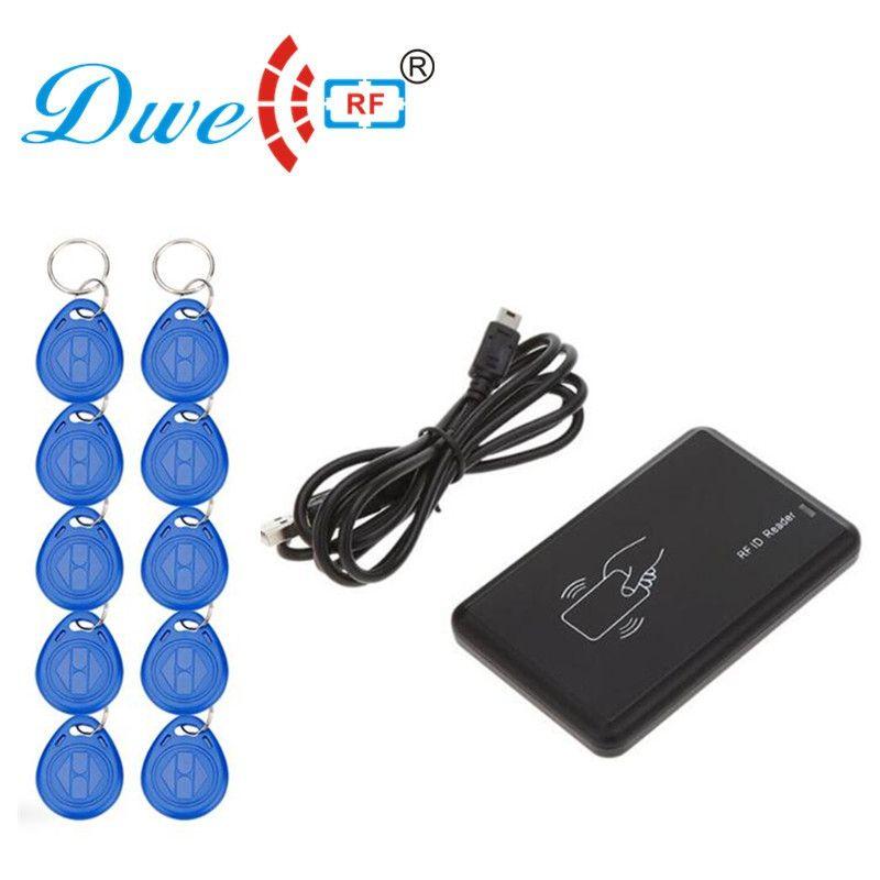 DWE CC RF rf card 125khz rfid reader writer copier duplicator cloner usb card programmer with 10 em4305 keyfob free