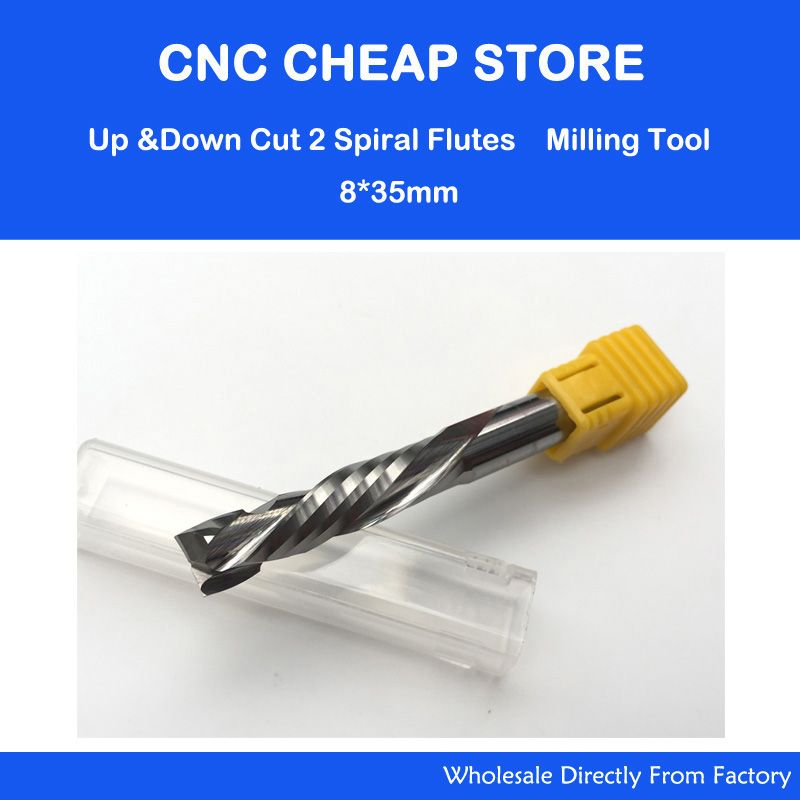 AAA UP &DOWN Cut 8x35mm Two Flutes Spiral Carbide Mill Tool Cutters CNC <font><b>Router</b></font> Compression Wood End Mill woodworking Cutter Bits