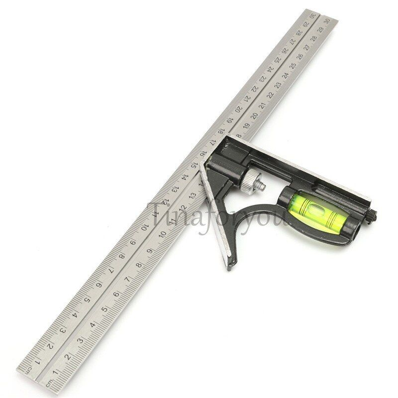 Precise Stainless Steel Measuring Tools Aluminium Combination Square Diy Workshop Hardware Angle Spirit Level 12