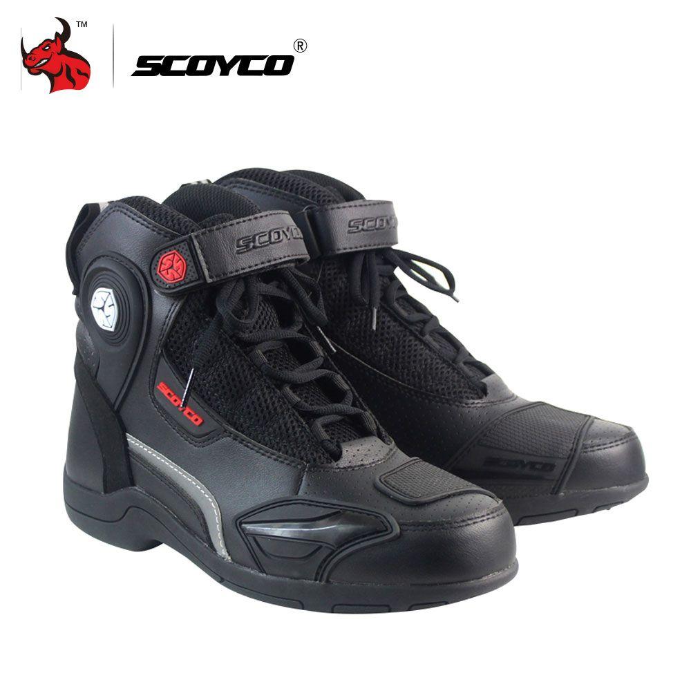 Scoyco мотоботы кожаные Мотокросс гонки по бездорожью Сапоги и ботинки для девочек Мотоцикл обувь для верховой езды Для мужчин Moto Сапоги и бот...