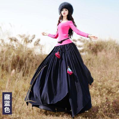 LYNETTE'S CHINOISERIE - BOSHOW 2016 Spring Original Design Women Asymmetrical Vintage Pastoral Thick Corduroy Cotton Skirt