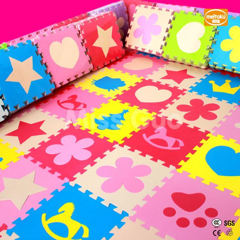 Meitoku детская пена EVA головоломки игровой коврик/10 шт./лот Централизации упражнение напольный коврик, за 30 см x 30 см 1 cmthick