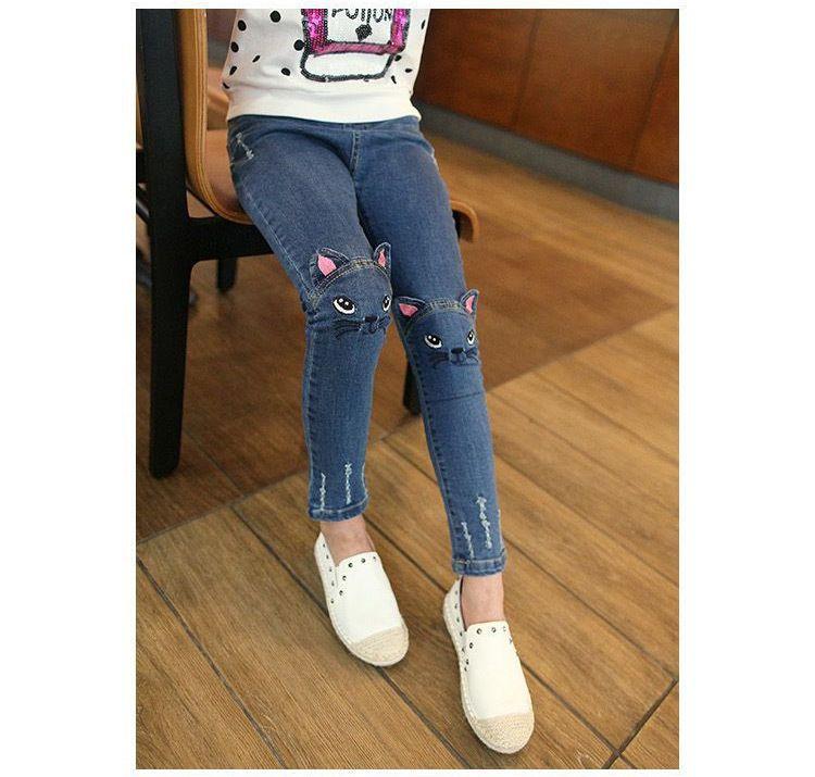 4 ~ 8 T hiver polaire élastique ceinture filles chat Jeans avec broderie enfants tricoté Denim pantalon Vaqueros Ninas Slim Fit lavé à l'eau